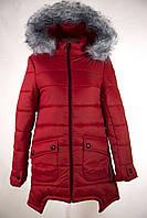 Женская зимняя куртка цвет красный