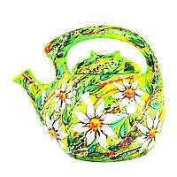 Чайник заварочный керамический авторский дизайн ручная роспись Лилия зеленый 2,1л 9469