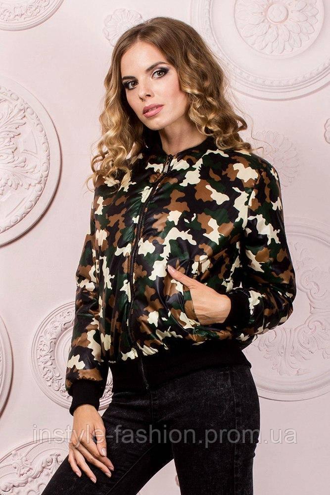 Женская куртка на резинке ткань плащевка на синтепоне 150 до 52 размера цвет камуфляж зеленый - Сумки брендовые, кошельки, очки, женская одежда InStyle в Одессе
