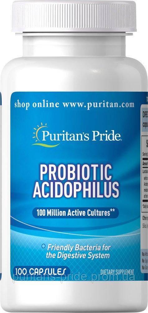 Пробіотик Puritan's Pride Probiotic Acidophilus 100capsules