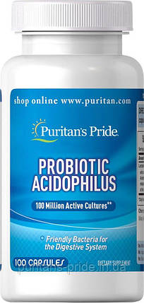 Пробіотик Puritan's Pride Probiotic Acidophilus 100capsules, фото 2
