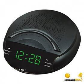 Радио-часы настольные VST 903-4 салатовые, электронные часы с подсветкой, настольные сетевые часы с радио