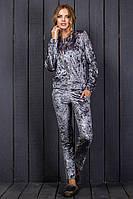 Спортивный женский велюровый костюм до 48 размера серый