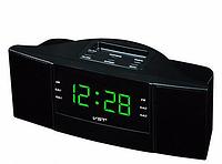 Настольные часы VST 907-4 салатовые, часы fm радио, радиочасы будильник, электронные часы с радиоприемником
