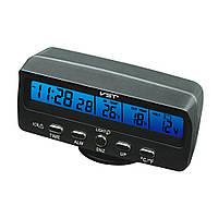 Авточасы с синей подсветкой VST 7045V, автомобильные часы термометр вольтметр vst, электронные часы в машину