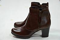 Женские коричневые ботинки Jeiday на устойчивом каблуке к.5020, фото 1