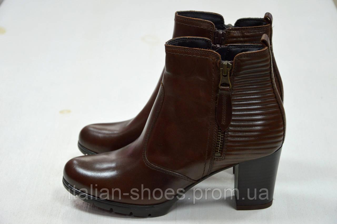 Женские коричневые ботинки Jeiday на устойчивом каблуке к.5020