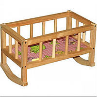 Детская деревянная кроватка для кукол Бамсик 002, кроватка Винни Пух 002