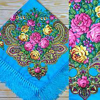 Женский красный платок с цветами(90х90см, бирюзовый, 80% шерсть)
