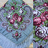Праздничный платок с цветами (90х90см, серый, 80%-шерсть)