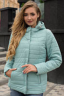 Демисезонная женская короткая куртка с капюшоном в пастельных нежных цветах 90229/1