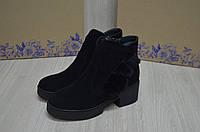 Кожаные женские ботинки внутри норка