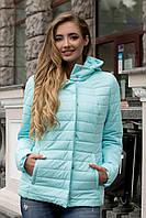 Демисезонная женская короткая куртка с капюшоном в пастельных нежных цветах 90229/2