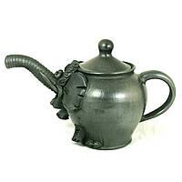 Чайник заварочный керамический ручной работы Слон черный 600мл 9420