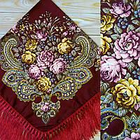 Женский красный платок с цветами(90х90см, бордовый, 80% шерсть)