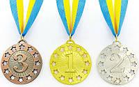 Медаль спортивная с лентой WIN d-6,5см (металл, d-6,5см, 38g)