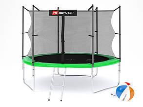 Батут Hop-Sport 12ft (366cm) зеленый с внутренней сеткой, фото 2