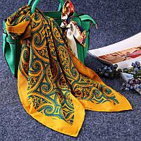 Стильный легкий женский платок с принтом желтого цвета