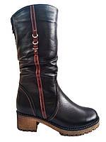 Кожаные женские зимние комфортные черные полусапожки на устойчивом каблуке Romax