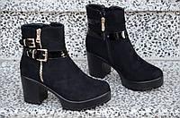 Весенние ботинки полусапожки ботильоны на каблуке, на платформе женские черные. Со скидкой