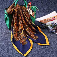 Стильный легкий женский шарф платок с принтом темно-синего цвета