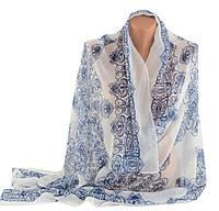 Шикарный легкий женский шарф, хлопок, 160х80 см, Trаum 2495-85, цвет белый.