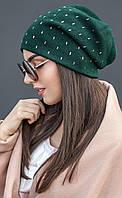 Женская однотонная шапка из ангоры в стразах (разные цвета)