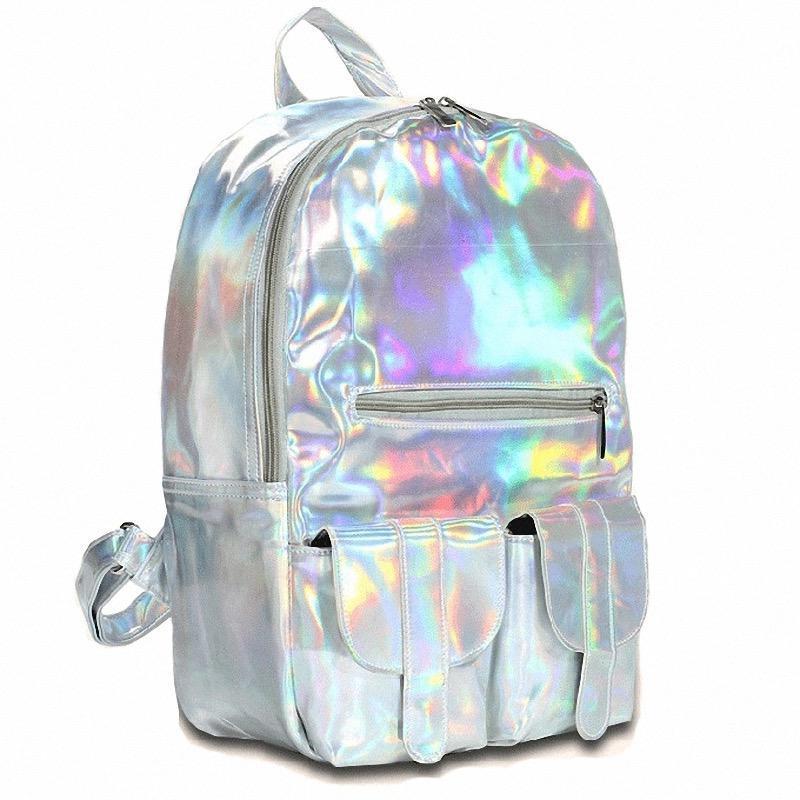Стильный женский большой серебристый рюкзак-голограмма ( код: IBR084lS )