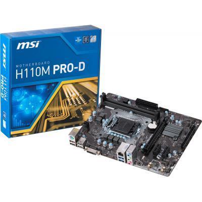 Материнская плата MSI H110M PRO-D S1151 Intel H110 2хDDR4 2133МГц DVI mATX