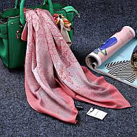 Стильный легкий женский шарф платок с принтом корралового цвета