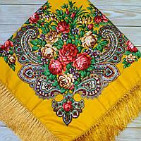 Красивый платок для девушки (110х110см, 80%-шерсть, желтый), фото 1