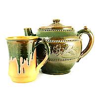 Чайный набор чайник заварочный 1,5л и чашка 400мл керамические ручной работы глазурованные 9447