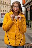 Демисезонная женская короткая куртка на силиконе желтого цвета 90225