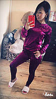 Хит! Облегающий женский велюровый бархатный костюм брюки штаны свитер кофта марсала 42-44 44-46