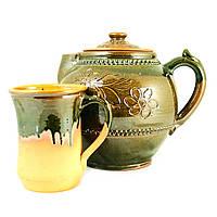 Чайный набор чайник заварочный 1,7л и чашка 400мл керамические ручной работы глазурованные 9446