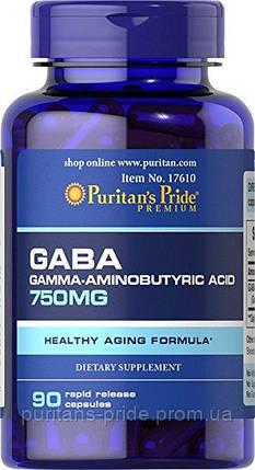 Активный стимулятор гормона роста, Puritan's Pride GABA (Gamma Aminobutyric Acid) 750 mg 90 Capsules, фото 2