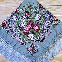 Красивый платок для девушки (110х110см, 80%-шерсть, серый)