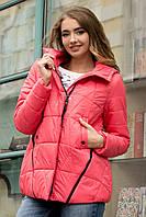 Демисезонная женская короткая куртка на силиконе на молнии розовая 90225/1