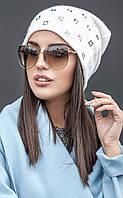 Женская шапка из ангоры с камнями (разные цвета)