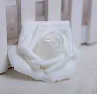 Роза из латекса, цвет белый, 5,5-6 см