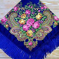 Красивый платок для девушки (110х110см, 80%-шерсть, синий)