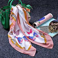 Стильный легкий женский шарф платок с бабочками цвета