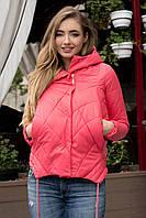 Демисезонная женская стильная куртка свободного кроя на силиконе розовая 90144/3