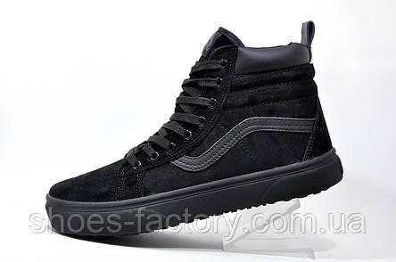 Зимние кроссовки в стиле Vans Old Skool Winter, на меху (Black), фото 2