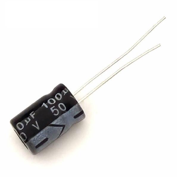 Конденсатор электролитический 100мкФ 50В 105С, 10шт.