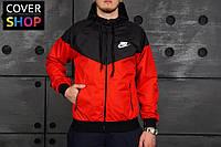 Виндранер Nike, красно - черный, материал - парусина с водоотталкивающей пропиткой