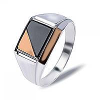 """Перстень печатка из серебра с золотом и обсидианом """"Рикардо"""" Р059з"""