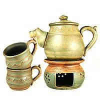Чайный набор чайник заварочный с подогревом 1л чашки 2шт*300мл керамические ручной работы 9464