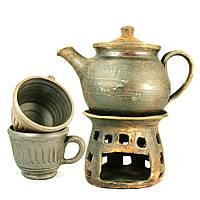 Чайный набор чайник заварочный с подогревом 750мл чашки 2шт*250мл керамические ручной работы 9473