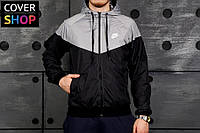 Ветровка мужская Nike, черно - серые, материал - парусина с водоотталкивающей пропиткой